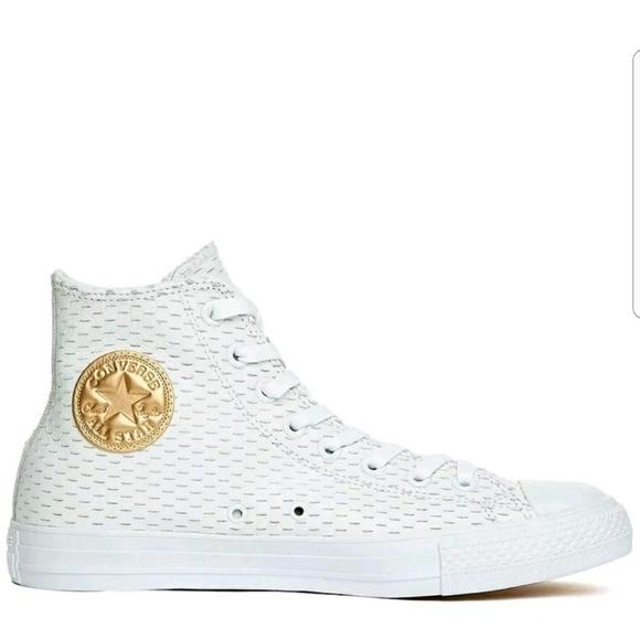 f9827e520e3a Converse Chuck Taylor White Leather Hi Top Gold
